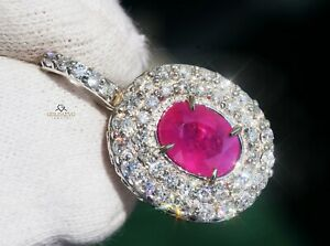 Ruby Pendant Diamond Gold 14K Natural NO HEAT 3.24CTW GIA Certified RETAIL$12400