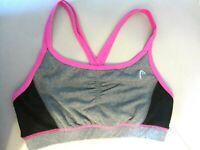 HEAD Dri Motion Women's Medium Sports Bra Pink Gray Black Pull On Crossback