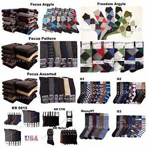6 12 PACK Lot Men Dress Socks Pattern Solid Assort Argyle Nylon Socks 9-11 10-13