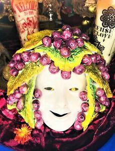💛 Spirited Vintage Italian Dionysus Terra Cotta God of Wine Hand Painted Mask