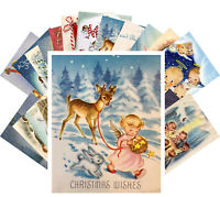 Postcards Pack [24 cards] Vintage Christmas Church Cute Baby Angels CE5011