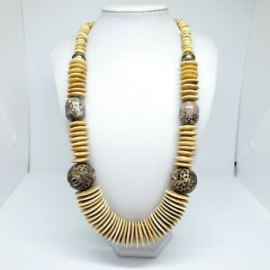 Carved Beige Statement Necklace Fashion Chic Chunky Tribal  Ethnic Jewelry