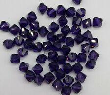 96pc Swarovski Crystal Purple Velvet 4mm Bicone 5328 Beads; Bulk Lot; Dk Purple