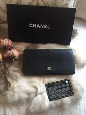 Authentic Chanel Long Wallet Clutch Matelasse Black Leather Vintage France CHIC!