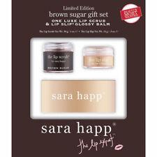 Sara Happ Brown Sugar Gift Set Lip Scrub 1 oz. Lip Slip Glossy Balm .5 oz NEW