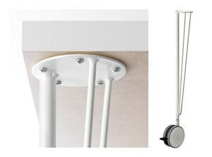 KRILLE Table Leg With Lockable Castor,White,Easy Move & MultiUse,Steel Table Leg