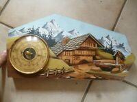 Ancien Vintage Baromètre Baromaster déco Chalet Montagne bois relief