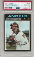 1971 TOPPS #676 TOMMIE REYNOLDS, PSA 8 NM-MT, CALIFORNIA ANGELS,  HIGH NUMBER