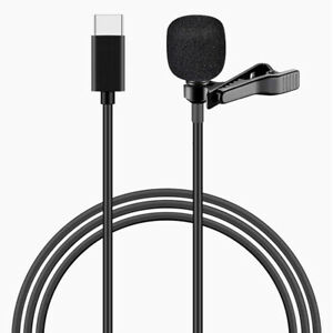 USB Type C Mini Lavalier Microphone Omnidirectional Lapel Clip Mic with Bag #G