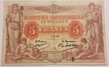 5 Francs 1914 Anvers Frank SUP 5 Frank Serie B