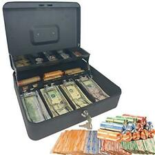 Cash Box with Money Tray and Lock – Safe Money Box Bundle Includes 100 Coin Wrap