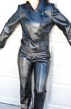 PARIS BLUES BLACK PVC LEATHER  BIKER JACKET and PANTS SUIT