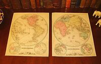 Two (2) Original 1859 Hand-Colored Antique Maps THE WORLD Globe in Hemispheres