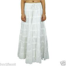Maxi Beach Wear Long Cotton Skirt Boho Hippie Lace Indian Women Clothing BSK338C