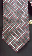 Brooks Brothers Silk Neck Tie - Navy Blue w/Red & Gray Woven Grid Pattern