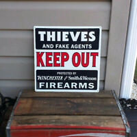 Winchester Smith & Wesson Firearm Thieves Keep Out Metal Sign 12x12 50064