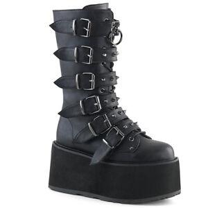 Demonia Damned-225 Platform Boots Black Vegan Womens Calf Gothic Punk Goth