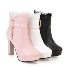 Womens High Block Heels Lace Ankle Riding Boots Buckle Strap Round Toe Shoes E88
