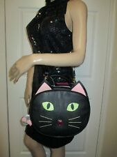 Betsey Johnson Kitsch Black Kitty Cat Insulated Lunch Tote Bag Crossbody retro