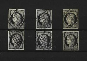 6 TIMBRES CERES 20 C NOIR 1849 OBLITERES GRILLE DONT 3 SIGNES BRUN YVERT N° 3