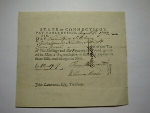 1782 Connecticut Pay Table Office Colonial Currency Note Bill! Wadsworth/Mosley
