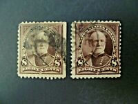 USA Lot of Two 1895 1st Bureau $.08 Sherman #257 Used - See Description & Images