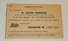 CARTE CERTIFICAT de GARANTIE E. LEITZ France pour Objectif 2194169