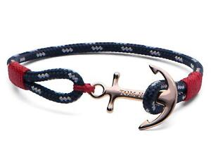 Tom Hope Blue and White Pacific Red Solid Brass Anchor Small Bracelet TM0081