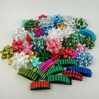 Large Vintage Christmas Present Ribbon Bows Lot - Green Red Blue +
