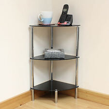Hartleys 3 Tier Black Glass Corner Side/End Table Shelf/Display Unit Lounge/Hall