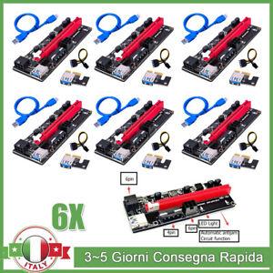 6x VER009S USB 3.0 PCI-E 1x A 16x Express Riser Scheda Adattatore per BTC Mining