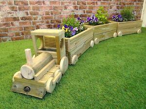 Train Steam Engine Wooden Decking Garden Herb Planter Plant Pot + Carriages