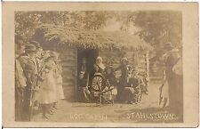 Log Cabin at Flax Scutching Festival in Stahlstown PA RP Postcard 1908
