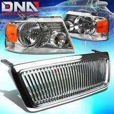 FOR 04-08 FORD F-150 CHROME FRONT GRILL+HEAD LAMPS LIGHTS AMBER REFLECTOR LENS