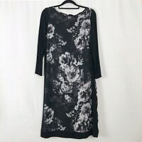Damsel in a Dress Black & White Floral Shift Midi Dress UK Size 12