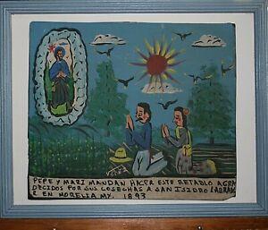 Saint Isidore The Farmer Retablo/Ex-Voto Rustic Signed by Mexican Artist Velez