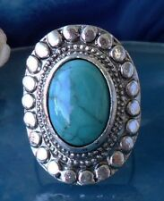 Ring in Vintage Style with Stone Turquoise Tibet Silver Oval Form Flower