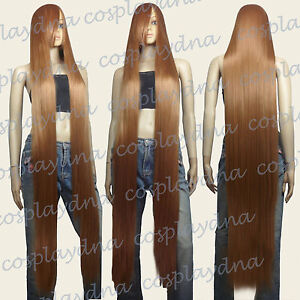 "60"" Heat Resistant Light Brown Extra Long Straight Cosplay Wigs with Bangs 81LLB"