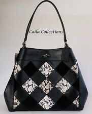 New COACH Lexy in Snake Patchwork Leather Shoulder Bag/Purse-F57509-Nickel/Black