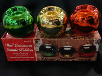 Vintage Set of 3 Ceramic Ball Christmas Tree Ornament Tea Light Candle Holders