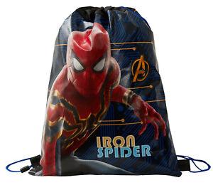 Marvel Spiderman Drawstring Gymbag Kids Iron Spider School Lunch PE Book Bag