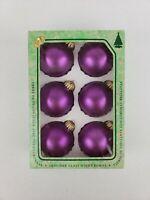 """Vtg Christmas by Krebs Box of 6 Designer Glass Ball 2.5"""" Ornaments Purple Velvet"""