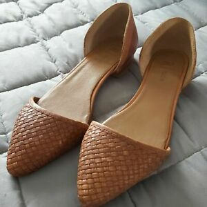 R Studio La Redoute 100% Leather Tan Woven Pointed Toe Shoes UK 5 EUR 38 BN