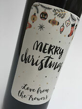 4 x Christmas Wine Bottle Labels PERSONALISE Kraft White Sticker XMAS Gift SCRIP