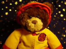 """Gund Bear Plush 11"""" Fire Chief Brown Sparks Yellow Suit"""