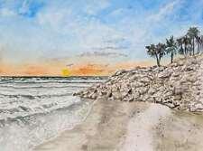 Gulf Coast beach watercolor painting art print