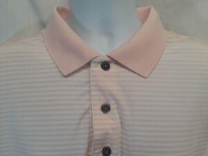 FootJoy Men's XL Pink Stripe Polyester Blend Golf Polo Shirt Logo on Sleeve FJ