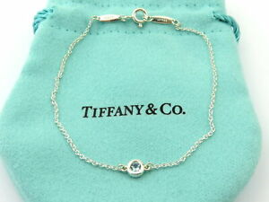 TIFFANY & CO Sterling Silver Aquamarine Color by the Yard Bracelet