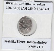 More details for ottoman empire beshlik silver ibrahim 1049-58ah/1640 - 48ad kostantiniye km#71.2