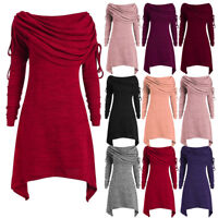 Womens Ruched Long Foldover Collar Tunic Tops Xmas Jumper Pullover Blouse Coats